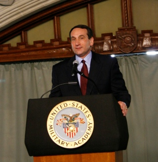 Duke Blue Devil basketball coach Michael Krzyzewski @West Point Academy (flickr creative commons)